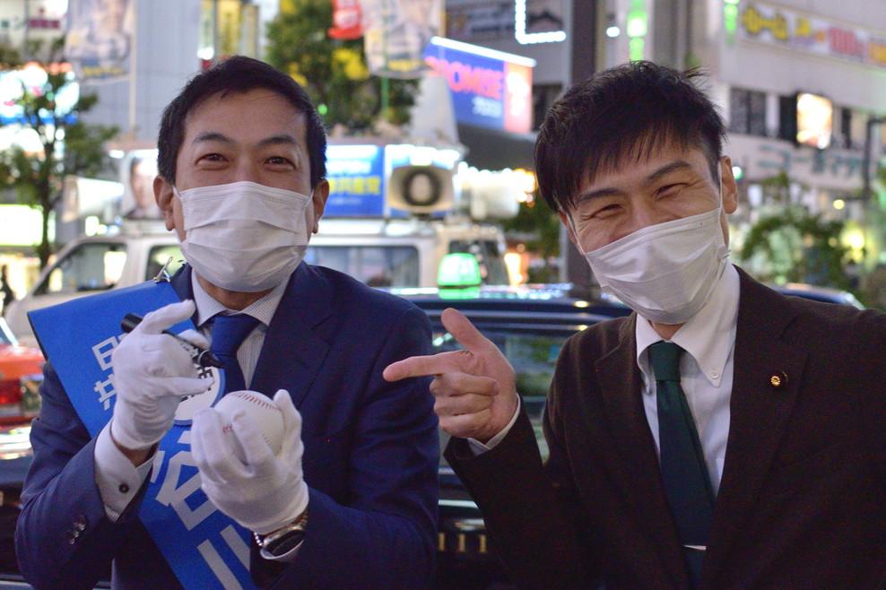 10/23 野党合同街宣 (山添氏)